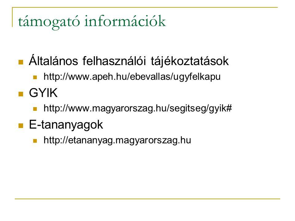 támogató információk Általános felhasználói tájékoztatások GYIK