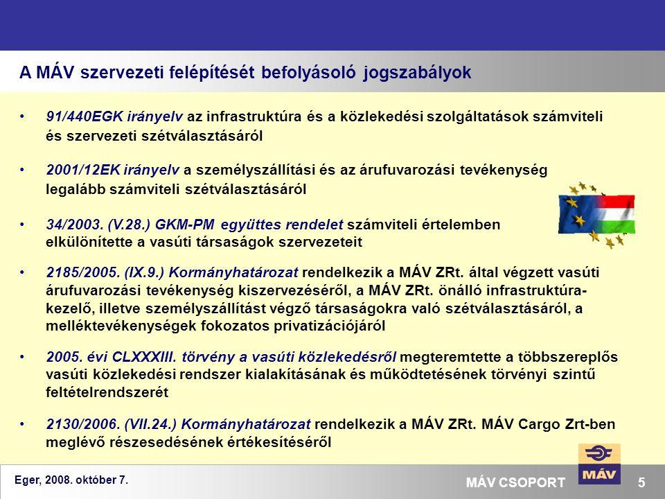 A MÁV szervezeti felépítését befolyásoló jogszabályok
