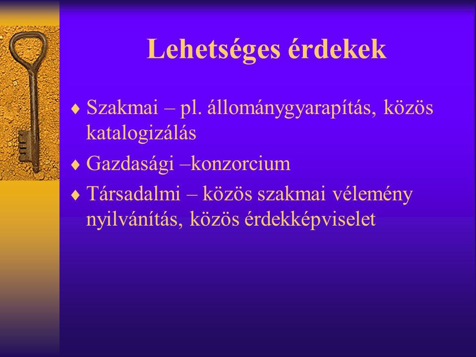 Lehetséges érdekek Szakmai – pl. állománygyarapítás, közös katalogizálás. Gazdasági –konzorcium.