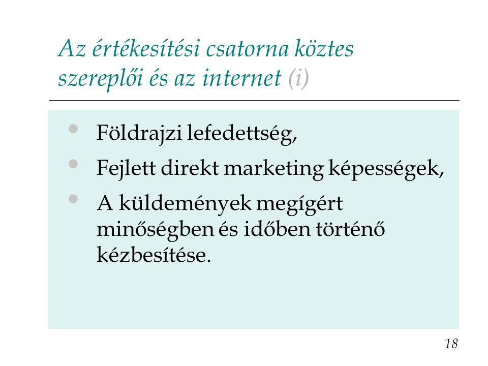 Az értékesítési csatorna köztes szereplői és az internet (i)