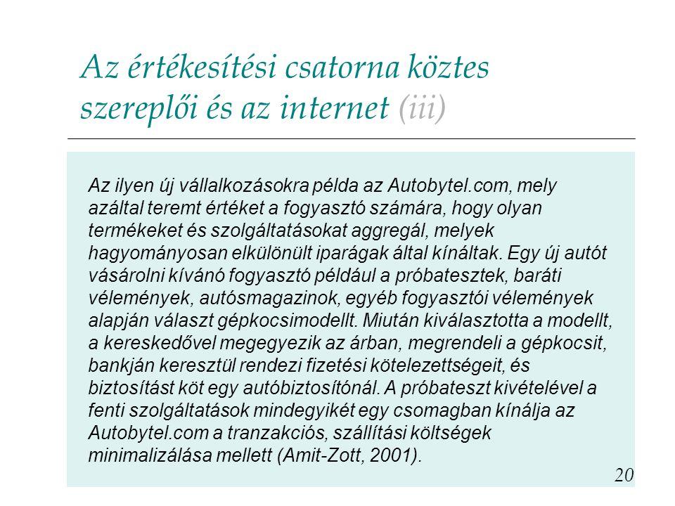 Az értékesítési csatorna köztes szereplői és az internet (iii)