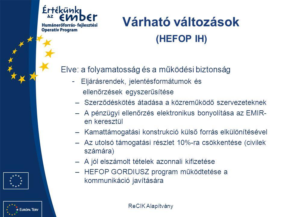 Várható változások (HEFOP IH)