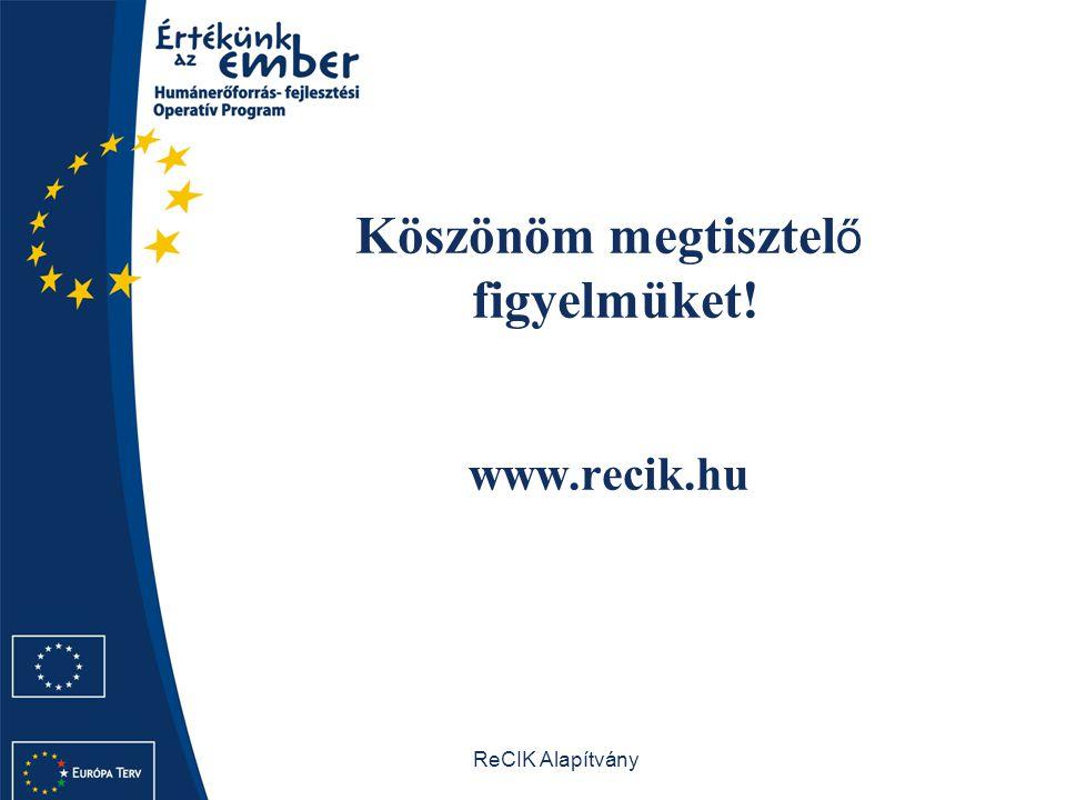 Köszönöm megtisztelő figyelmüket! www.recik.hu