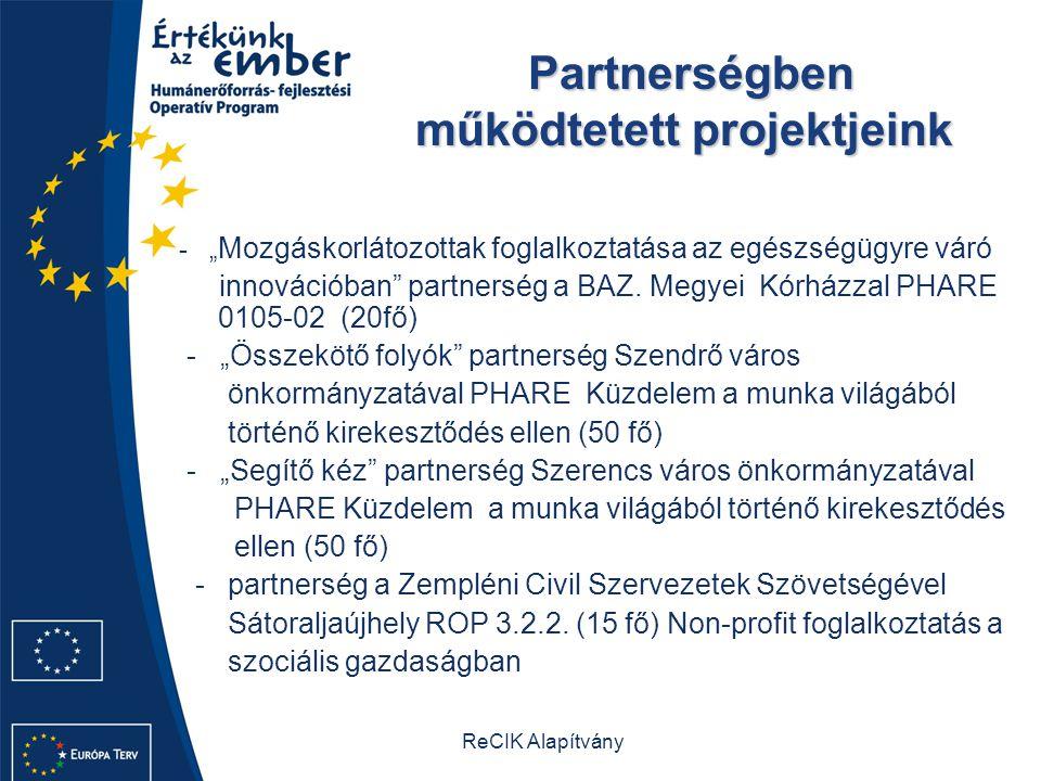 Partnerségben működtetett projektjeink