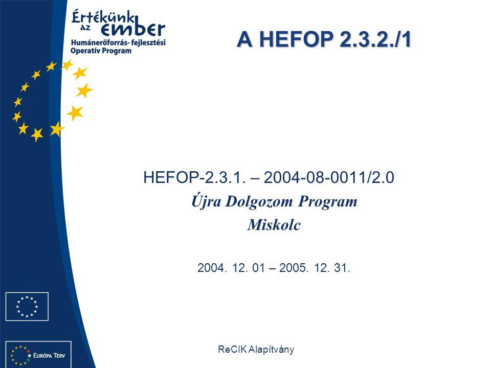 A HEFOP 2.3.2./1 Újra Dolgozom Program Miskolc