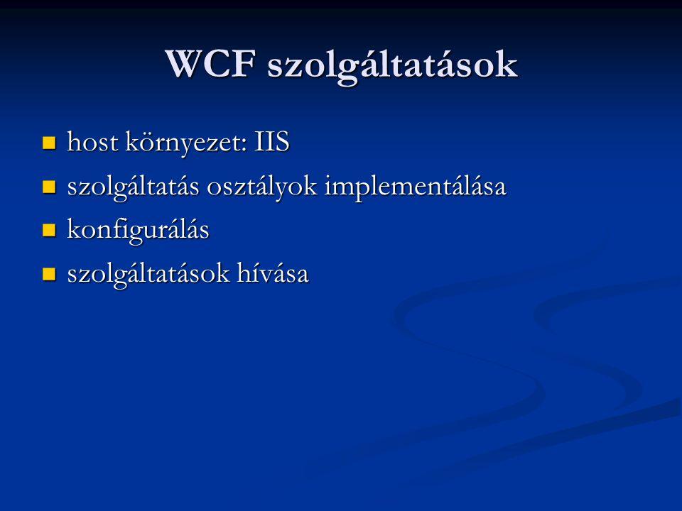 WCF szolgáltatások host környezet: IIS