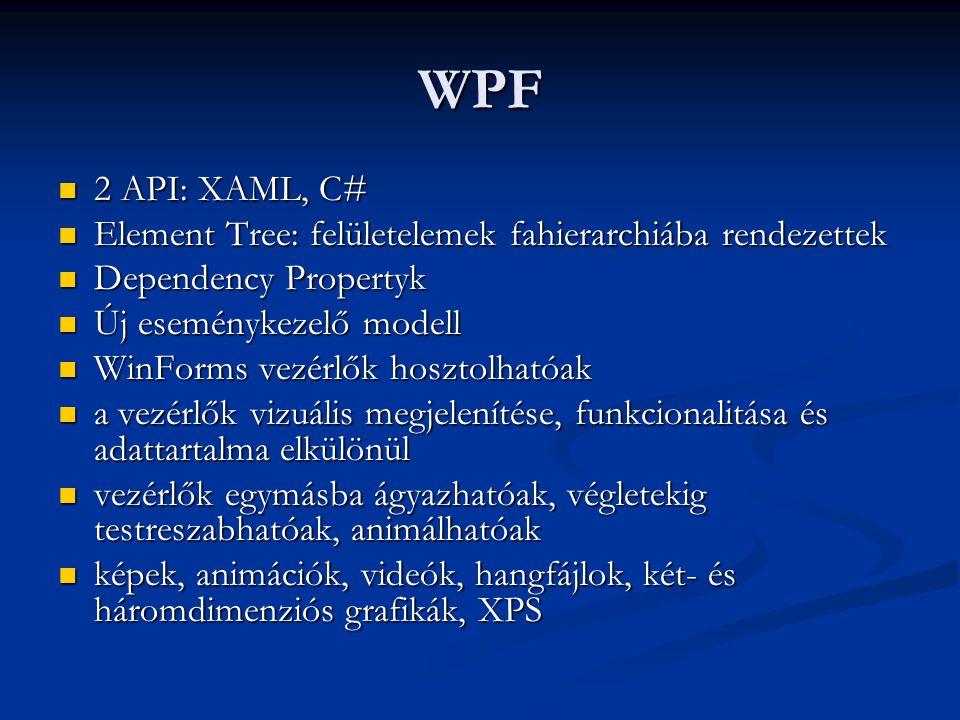 WPF 2 API: XAML, C# Element Tree: felületelemek fahierarchiába rendezettek. Dependency Propertyk.