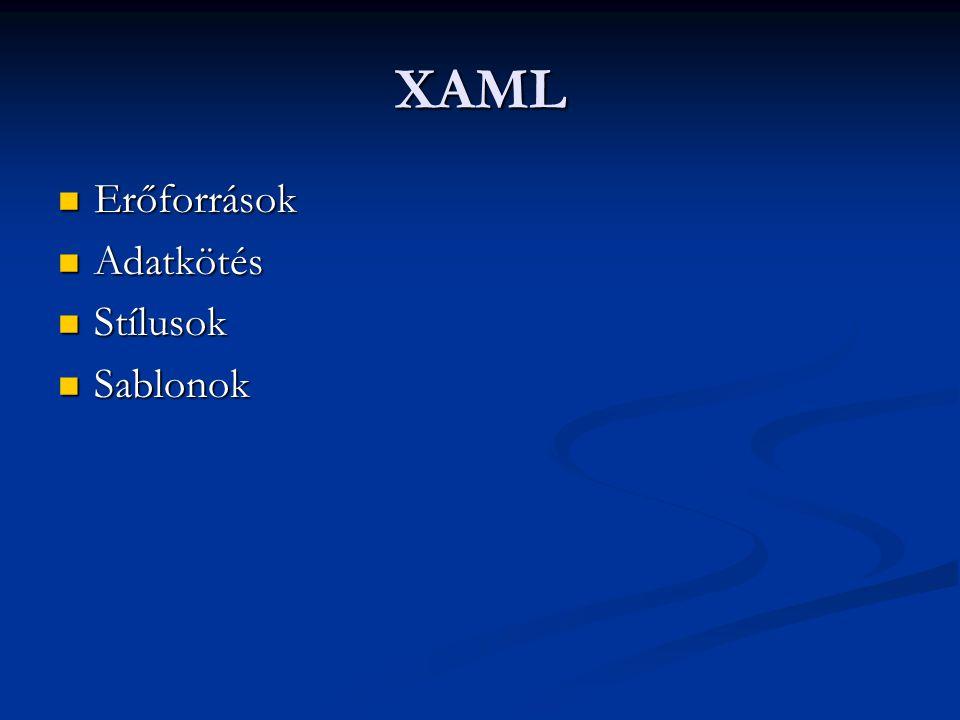 XAML Erőforrások Adatkötés Stílusok Sablonok
