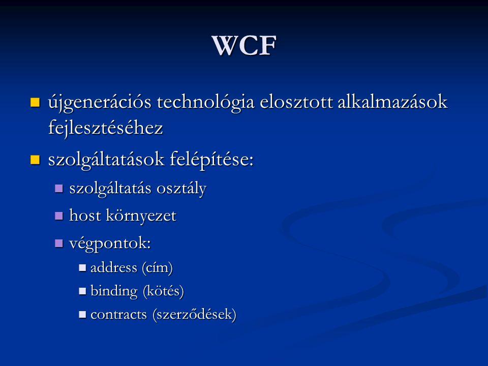 WCF újgenerációs technológia elosztott alkalmazások fejlesztéséhez