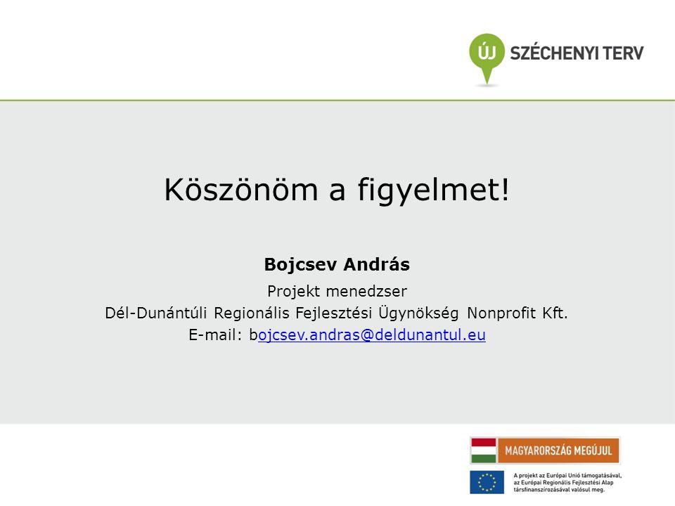 Köszönöm a figyelmet! Bojcsev András Projekt menedzser