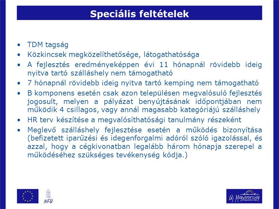 Speciális feltételek TDM tagság