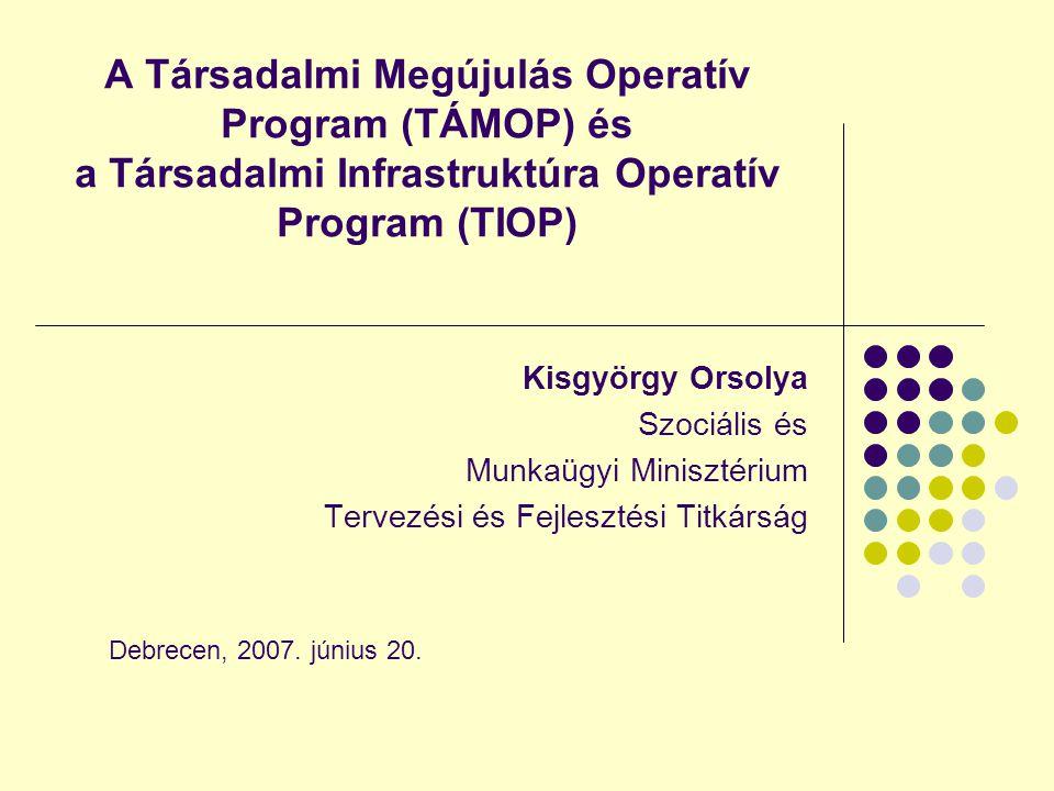A Társadalmi Megújulás Operatív Program (TÁMOP) és a Társadalmi Infrastruktúra Operatív Program (TIOP)