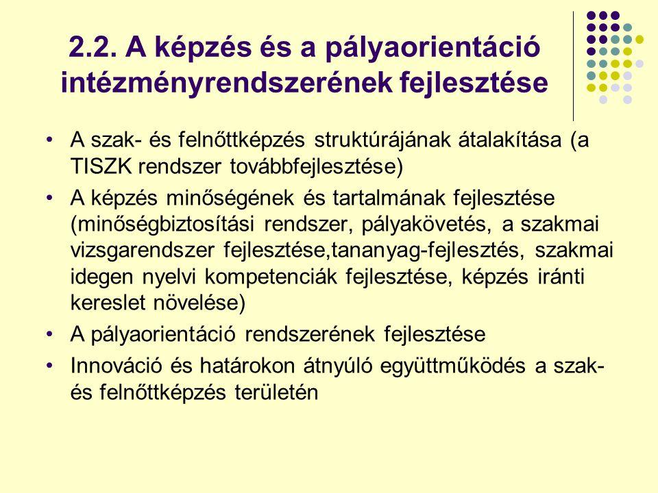 2.2. A képzés és a pályaorientáció intézményrendszerének fejlesztése