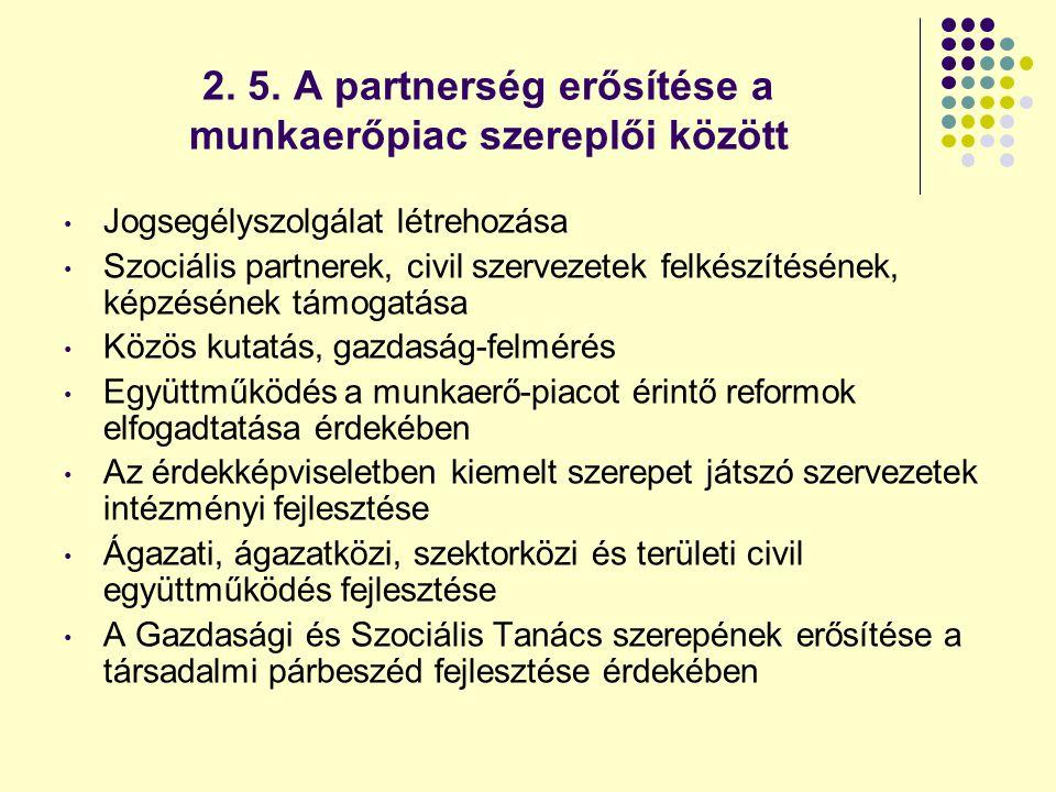 2. 5. A partnerség erősítése a munkaerőpiac szereplői között