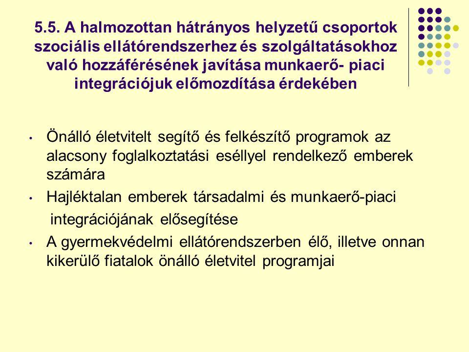 5.5. A halmozottan hátrányos helyzetű csoportok szociális ellátórendszerhez és szolgáltatásokhoz való hozzáférésének javítása munkaerő- piaci integrációjuk előmozdítása érdekében