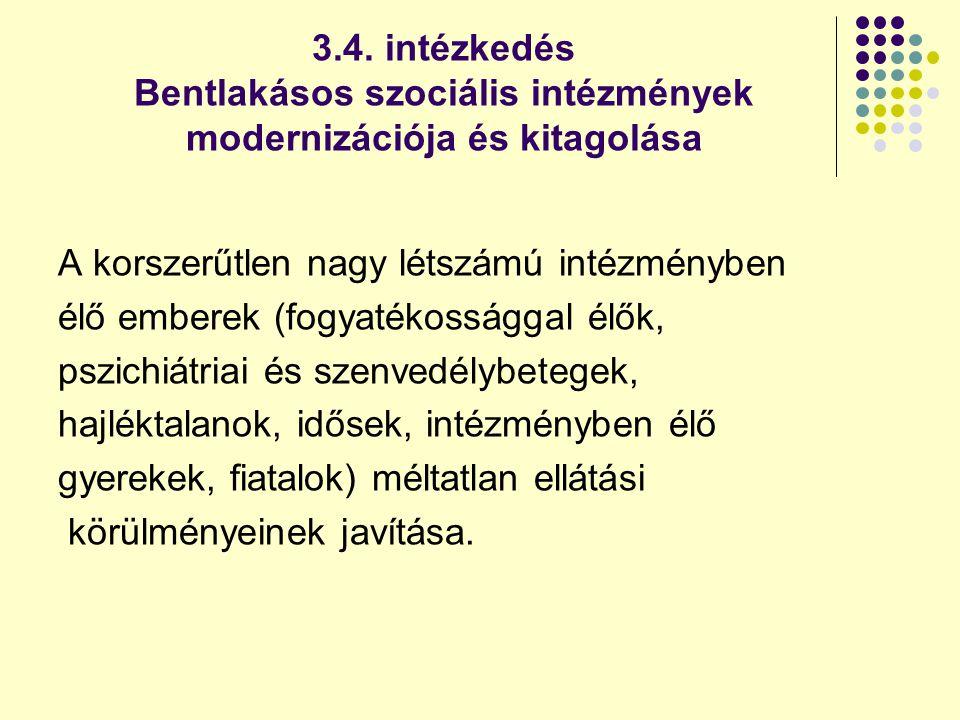 3.4. intézkedés Bentlakásos szociális intézmények modernizációja és kitagolása