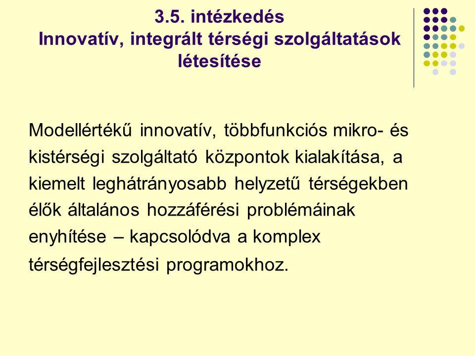 3.5. intézkedés Innovatív, integrált térségi szolgáltatások létesítése