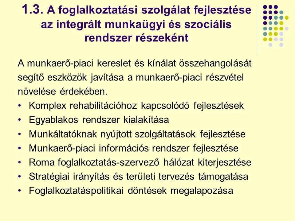1.3. A foglalkoztatási szolgálat fejlesztése az integrált munkaügyi és szociális rendszer részeként