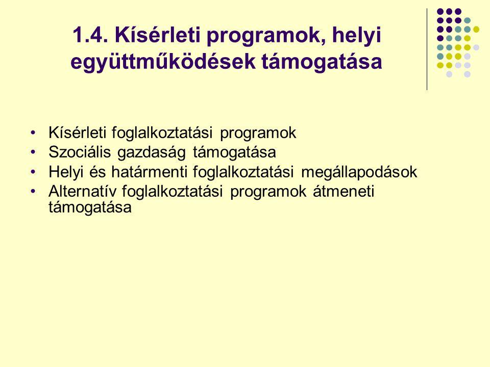 1.4. Kísérleti programok, helyi együttműködések támogatása