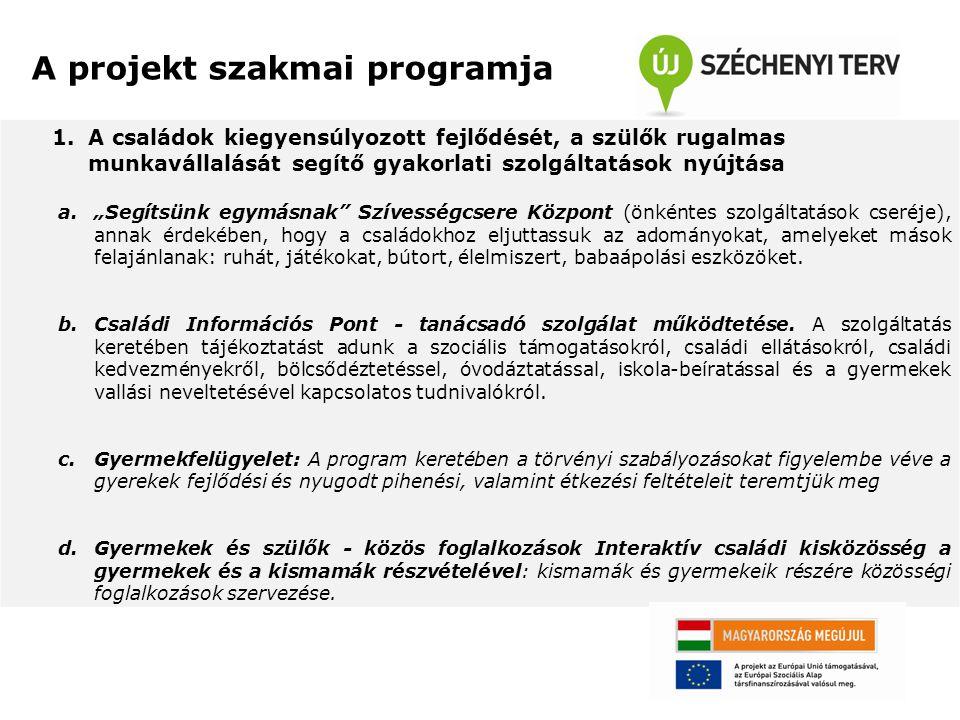A projekt szakmai programja