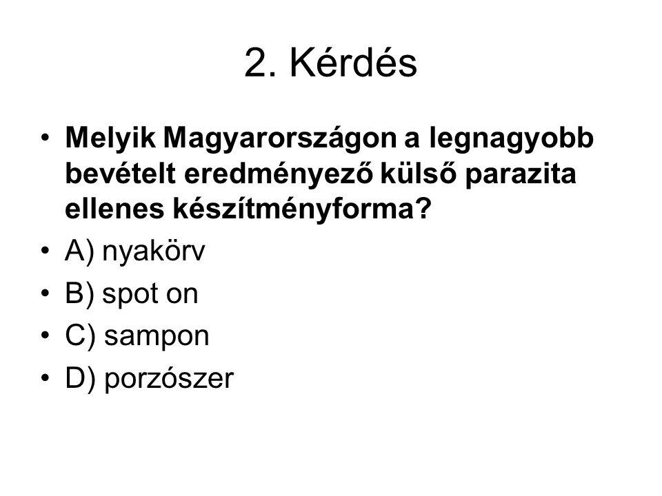 2. Kérdés Melyik Magyarországon a legnagyobb bevételt eredményező külső parazita ellenes készítményforma