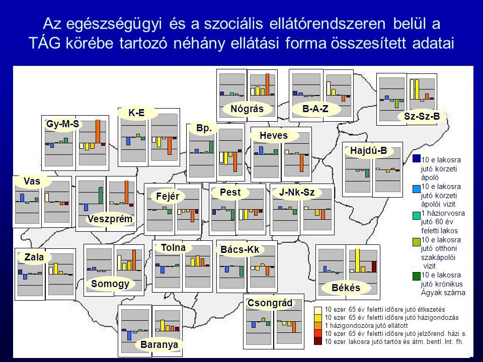 Az egészségügyi és a szociális ellátórendszeren belül a TÁG körébe tartozó néhány ellátási forma összesített adatai