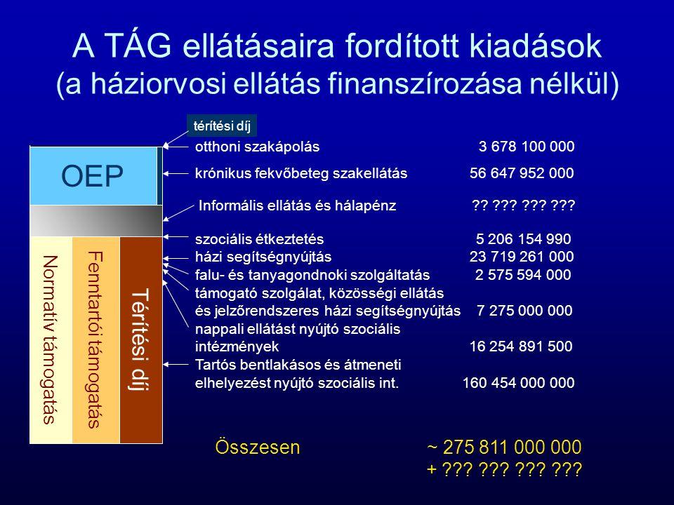 A TÁG ellátásaira fordított kiadások (a háziorvosi ellátás finanszírozása nélkül)
