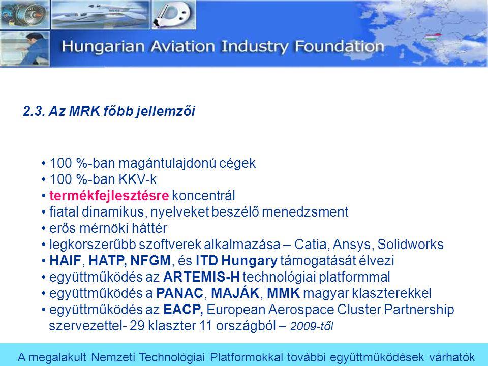2.3. Az MRK főbb jellemzői 100 %-ban magántulajdonú cégek. 100 %-ban KKV-k. termékfejlesztésre koncentrál.
