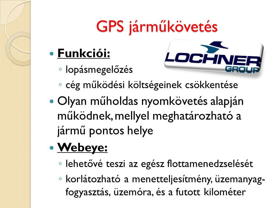 GPS járműkövetés Funkciói: