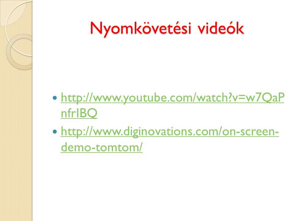 Nyomkövetési videók http://www.youtube.com/watch v=w7QaP nfrIBQ