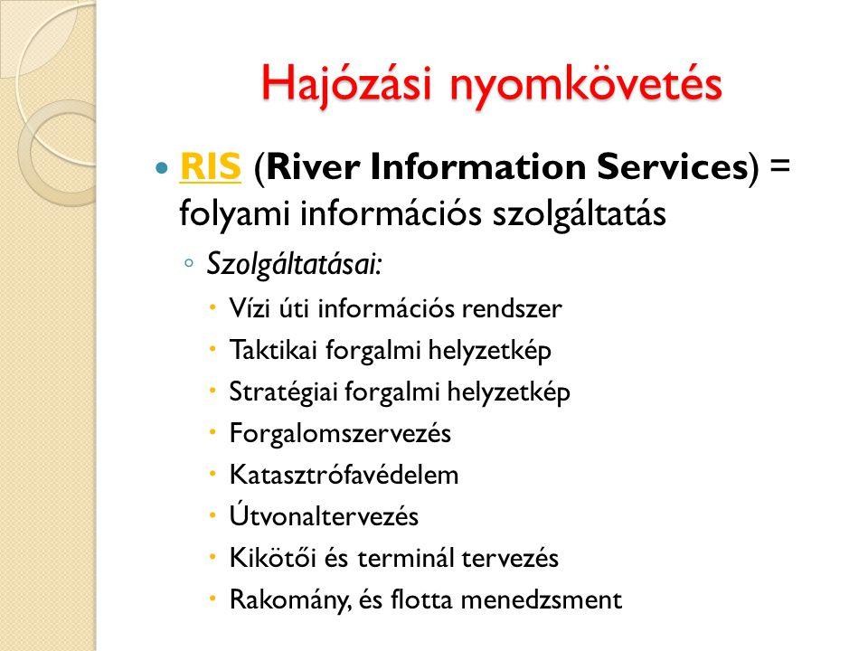 Hajózási nyomkövetés RIS (River Information Services) = folyami információs szolgáltatás. Szolgáltatásai: