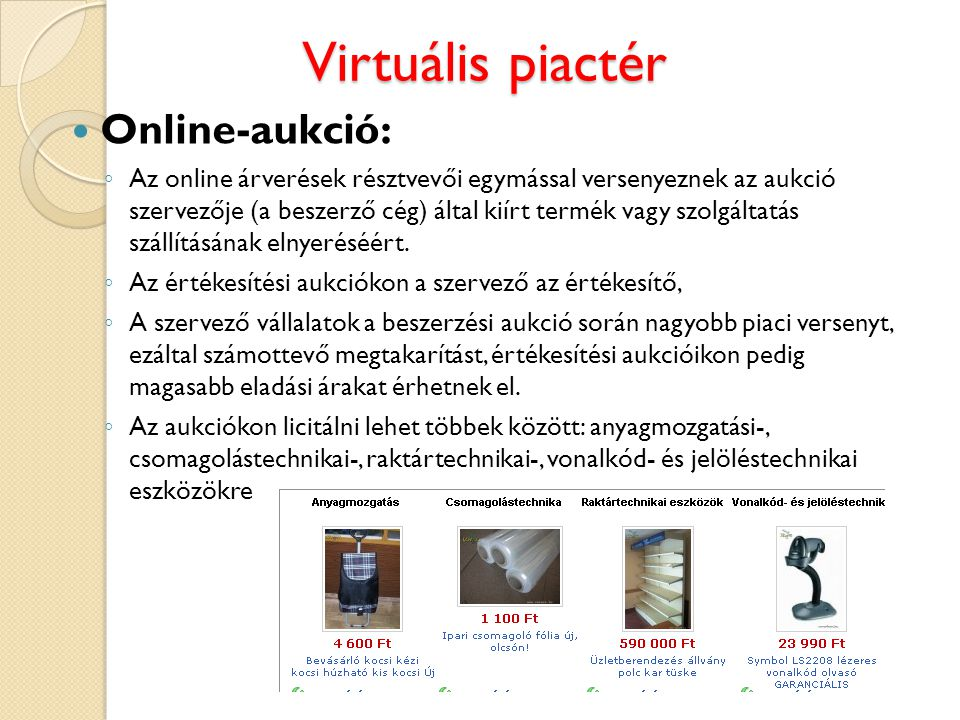 Virtuális piactér Online-aukció: