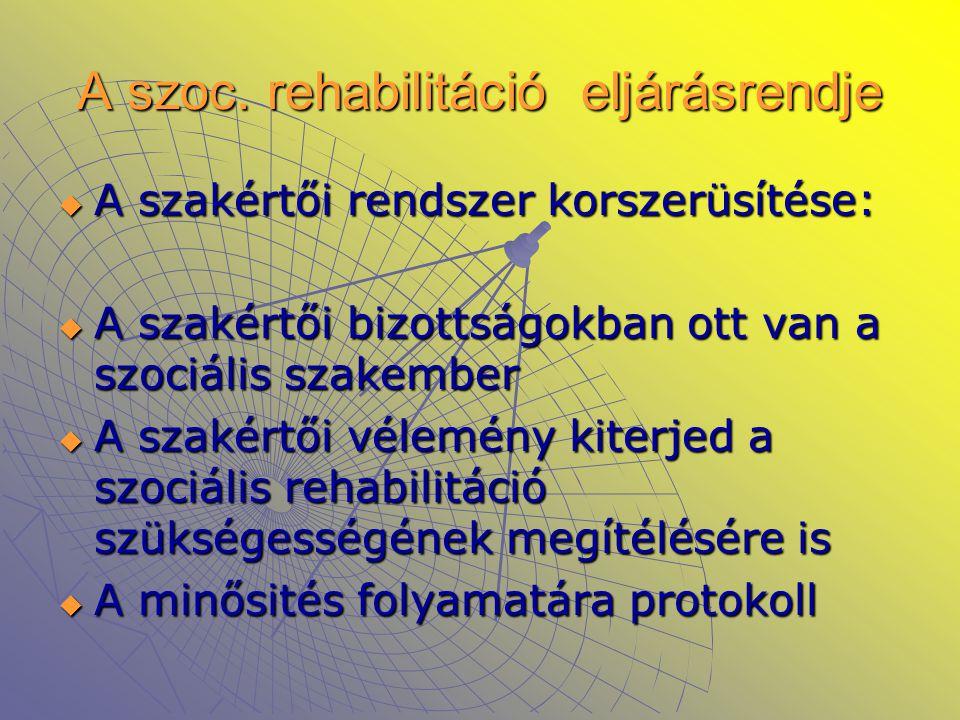 A szoc. rehabilitáció eljárásrendje