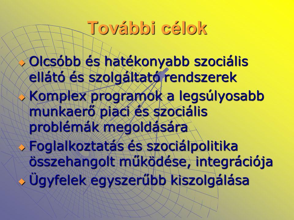 További célok Olcsóbb és hatékonyabb szociális ellátó és szolgáltató rendszerek.