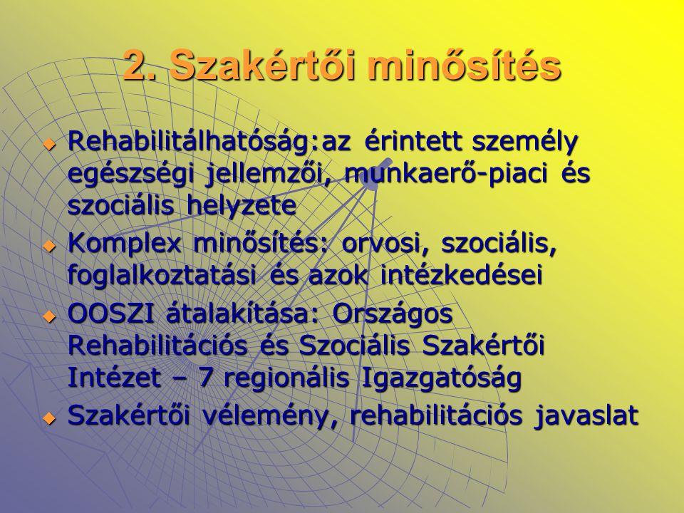 2. Szakértői minősítés Rehabilitálhatóság:az érintett személy egészségi jellemzői, munkaerő-piaci és szociális helyzete.