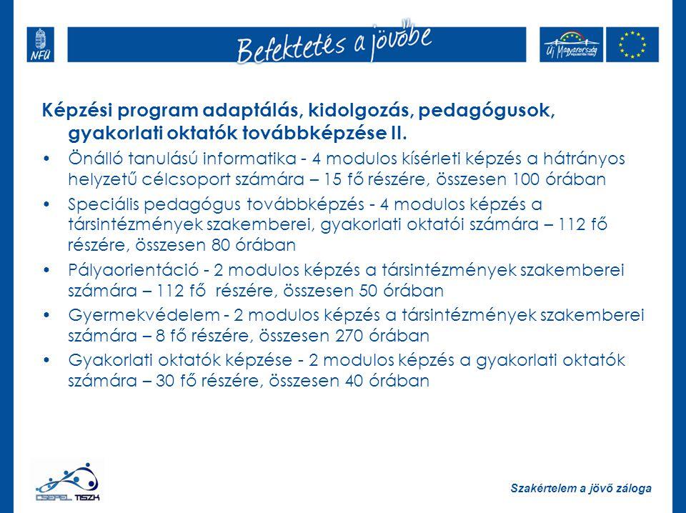 Képzési program adaptálás, kidolgozás, pedagógusok, gyakorlati oktatók továbbképzése II.