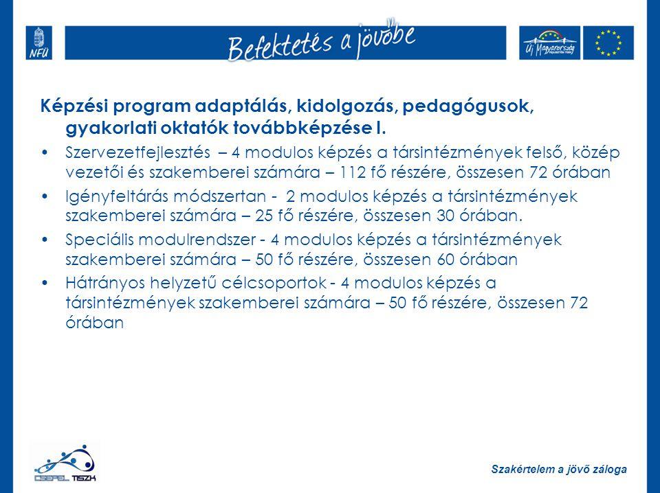 Képzési program adaptálás, kidolgozás, pedagógusok, gyakorlati oktatók továbbképzése I.
