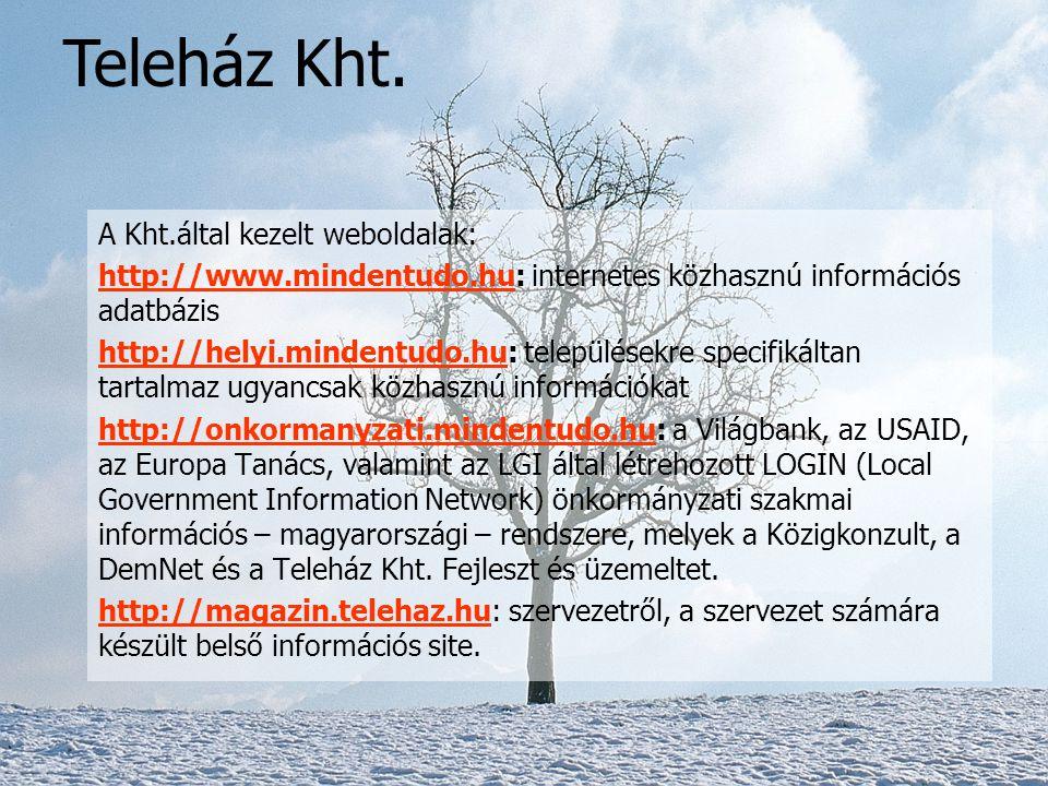 Teleház Kht. A Kht.által kezelt weboldalak: