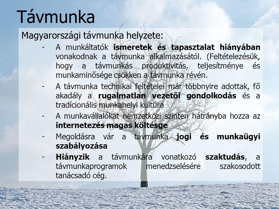 Távmunka Magyarországi távmunka helyzete: