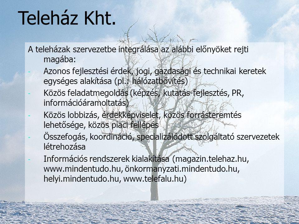 Teleház Kht. A teleházak szervezetbe integrálása az alábbi előnyöket rejti magába: