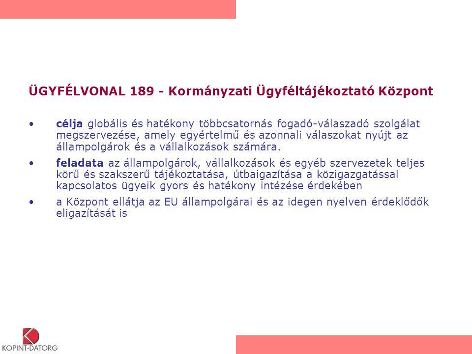 ÜGYFÉLVONAL 189 - Kormányzati Ügyféltájékoztató Központ