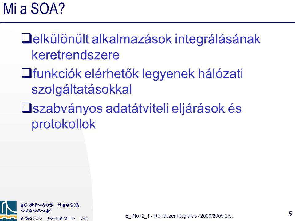 Mi a SOA elkülönült alkalmazások integrálásának keretrendszere