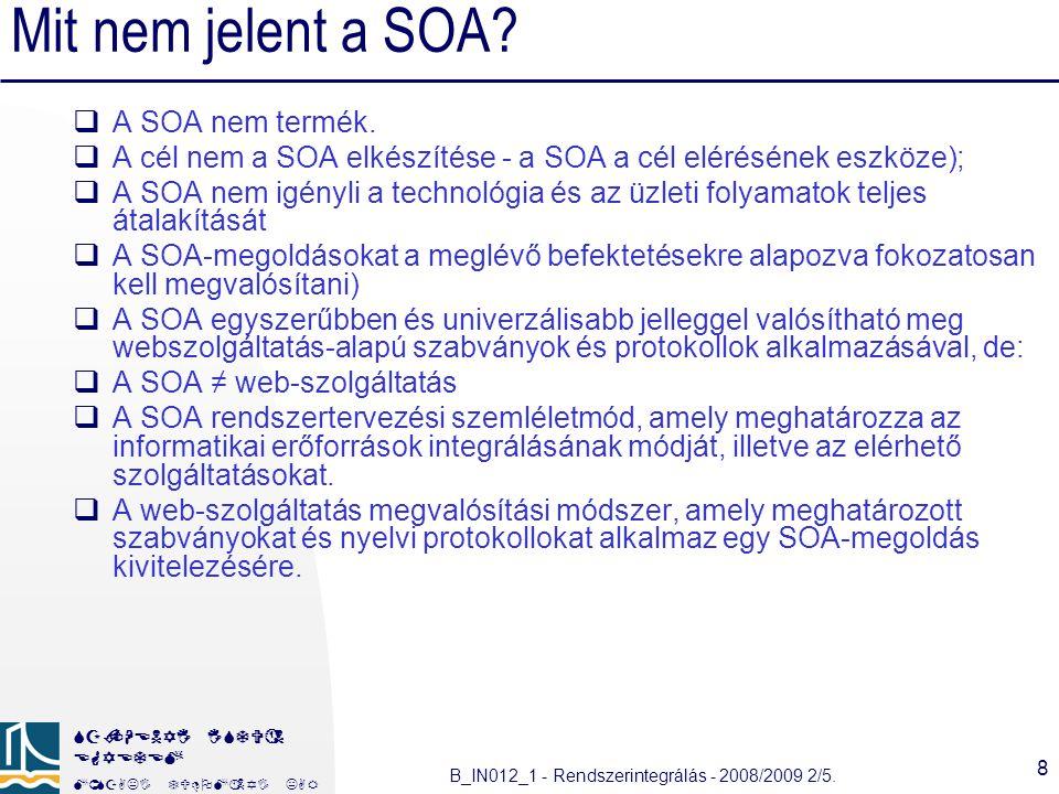 Mit nem jelent a SOA A SOA nem termék.