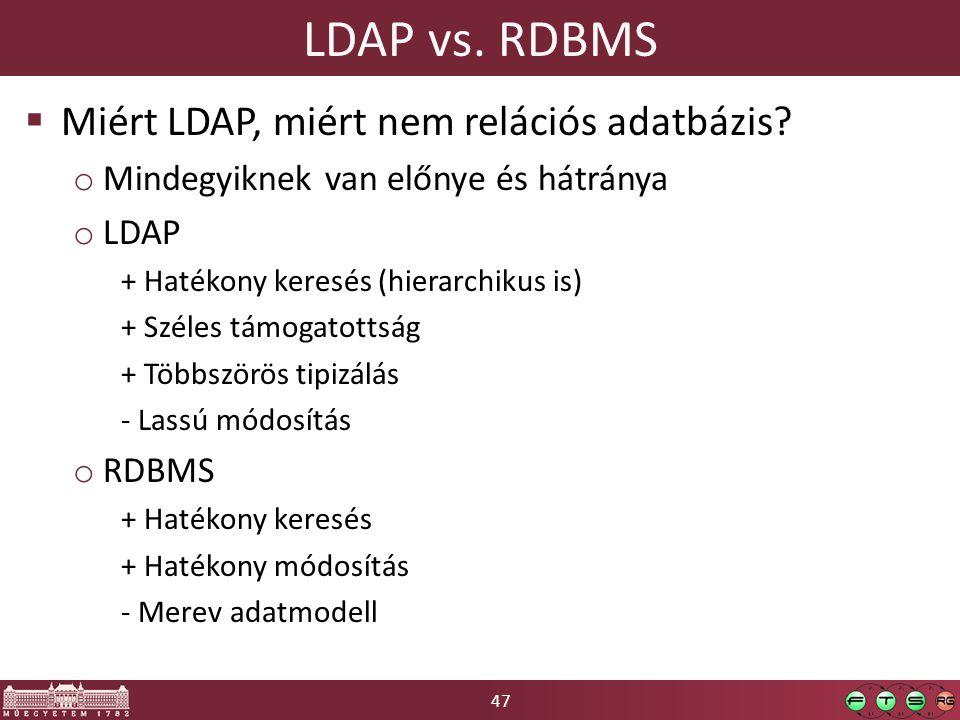 LDAP vs. RDBMS Miért LDAP, miért nem relációs adatbázis