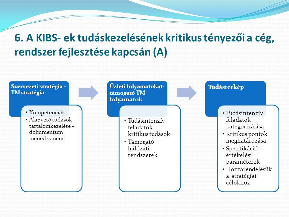 6. A KIBS- ek tudáskezelésének kritikus tényezői a cég, rendszer fejlesztése kapcsán (A)