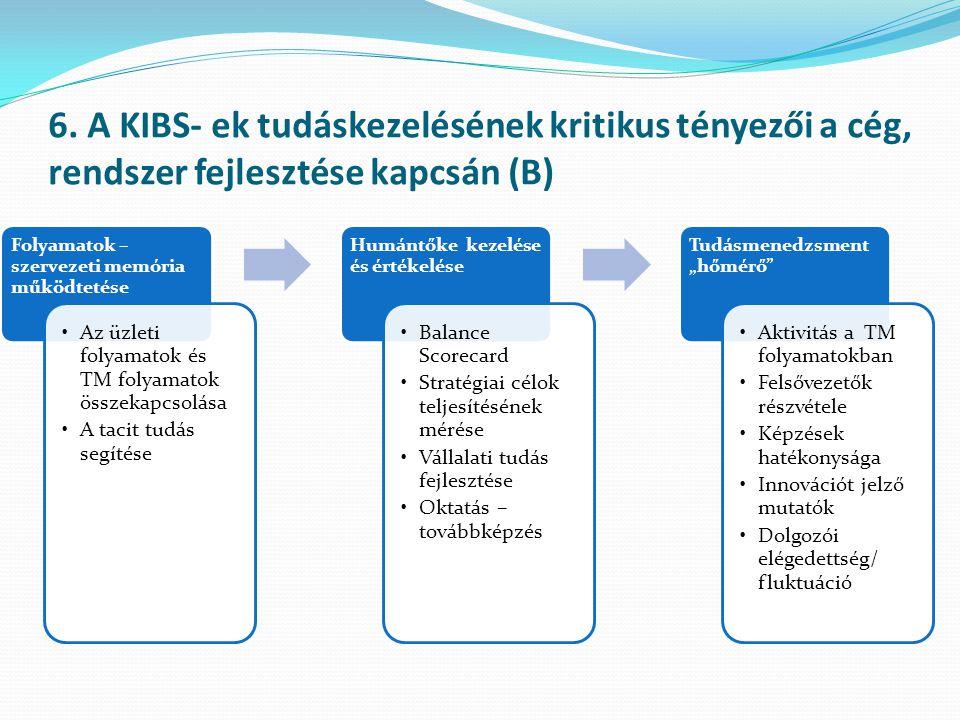 6. A KIBS- ek tudáskezelésének kritikus tényezői a cég, rendszer fejlesztése kapcsán (B)