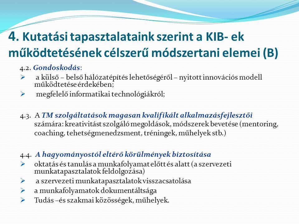 4. Kutatási tapasztalataink szerint a KIB- ek működtetésének célszerű módszertani elemei (B)