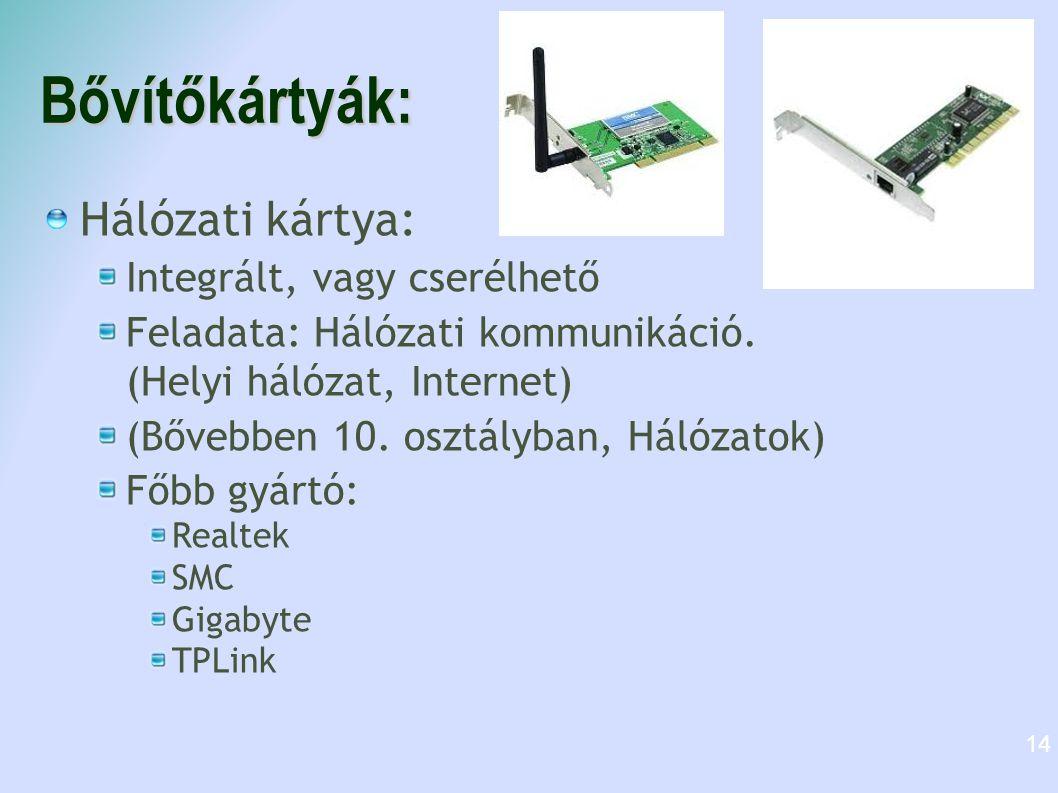 Bővítőkártyák: Hálózati kártya: Integrált, vagy cserélhető