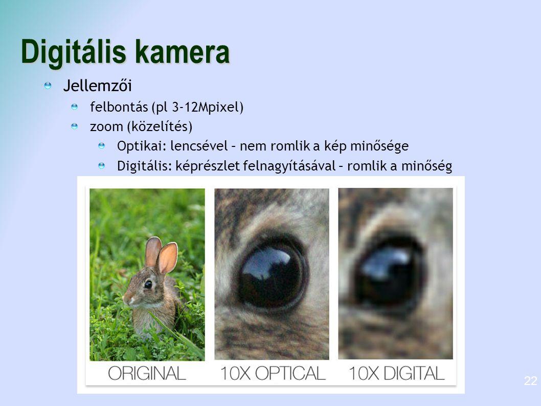 Digitális kamera Jellemzői felbontás (pl 3-12Mpixel) zoom (közelítés)