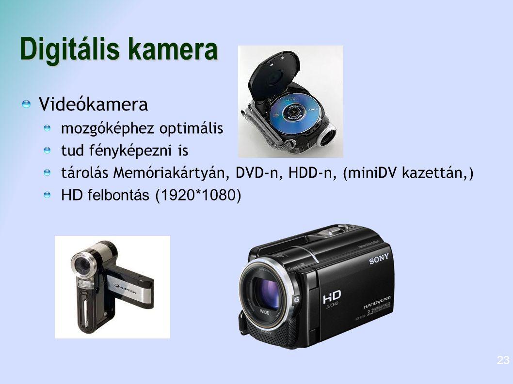 Digitális kamera Videókamera mozgóképhez optimális tud fényképezni is